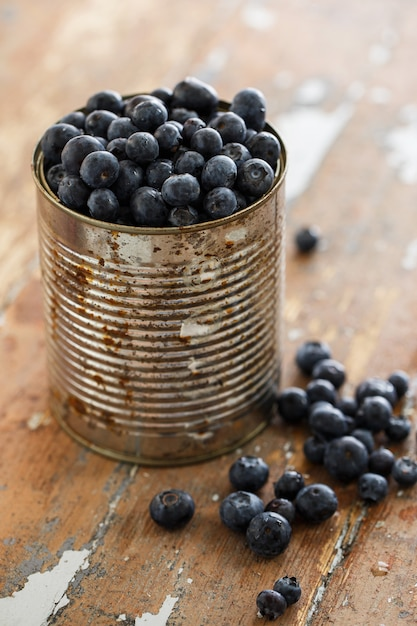 Delicious blueberries on the table Free Photo