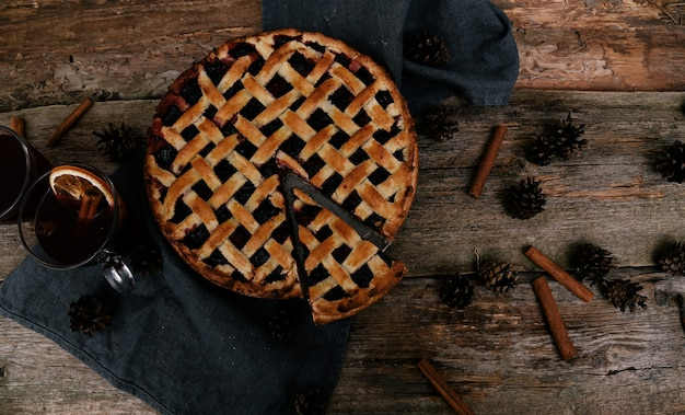 Delicious, blueberry pie Free Photo