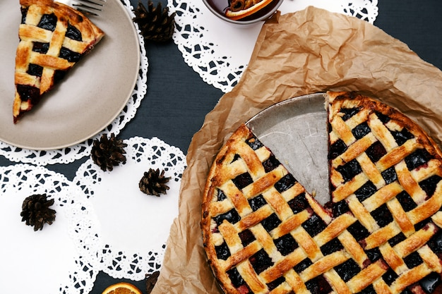 Delicious, blueberry pie Free Photo