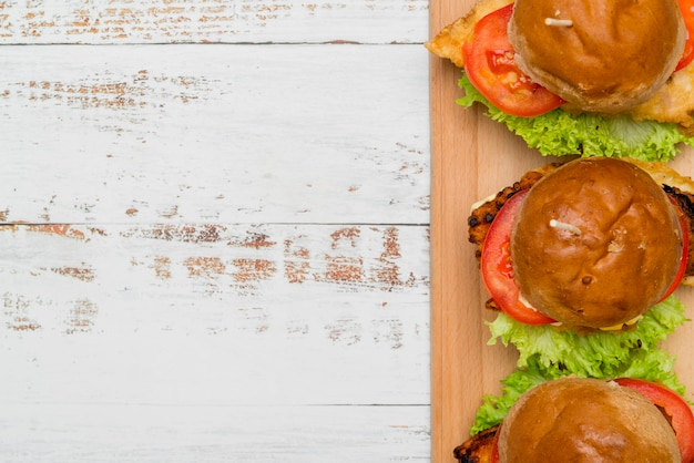 Delicious burgers with copy space Free Photo
