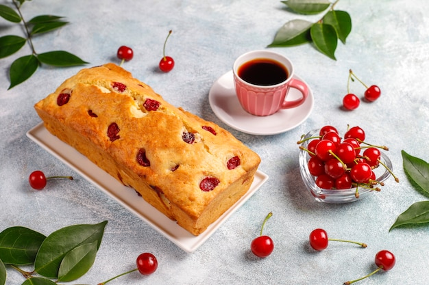 Delicious cherry cake with fresh cherries,top view Free Photo