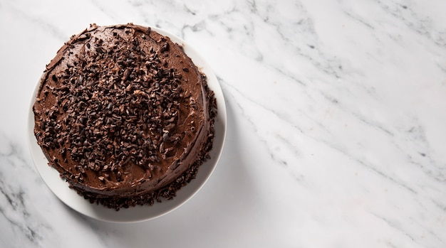 コピースペースのある美味しいチョコレートケーキ Premium写真