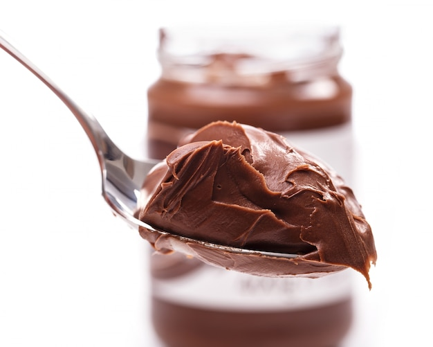 Delicious chocolate cream on a spoon Free Photo