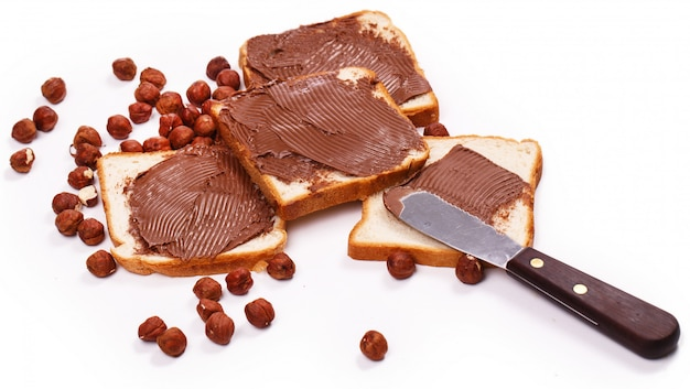Delicious chocolate cream on a toast Free Photo