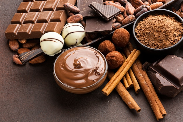 Delicious chocolate spread close up Free Photo