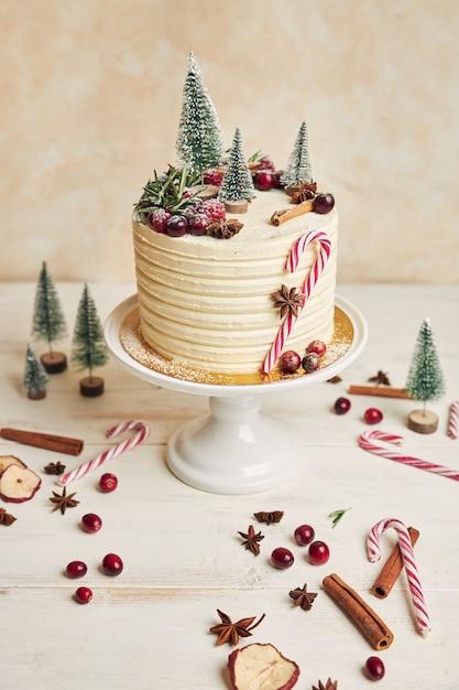 モミの木で飾られたおいしいクリスマスケーキ 無料写真