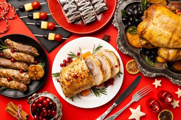 Delicious christmas food composition Free Photo