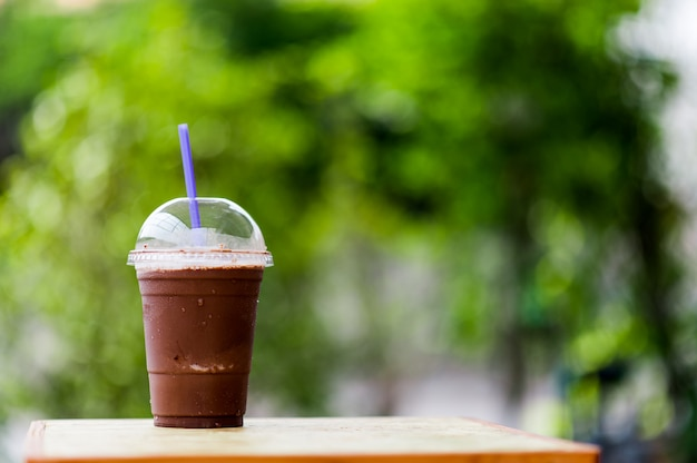 Delicious cool cocoa placed on the table ready to eat Premium Photo