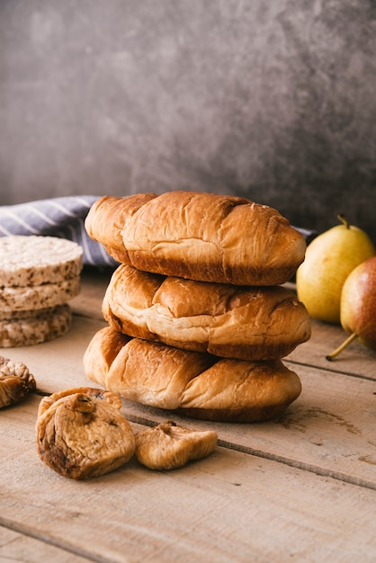 Delicious croissant and dry fruit breakfast Free Photo