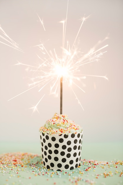 Delicious cupcake with candle Free Photo