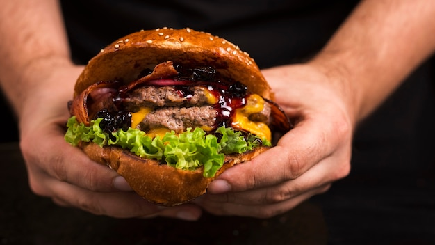 Delicious double beef burger with cheese Free Photo