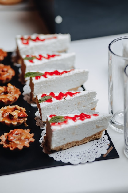 Delicious festive buffet with canapãƒâ©s and different delicious meals Premium Photo
