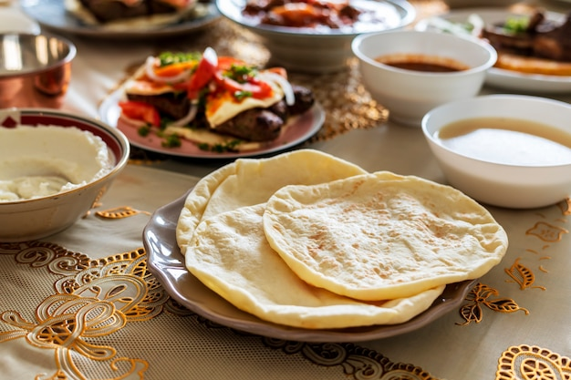 Delicious food for a ramadan feast Free Photo