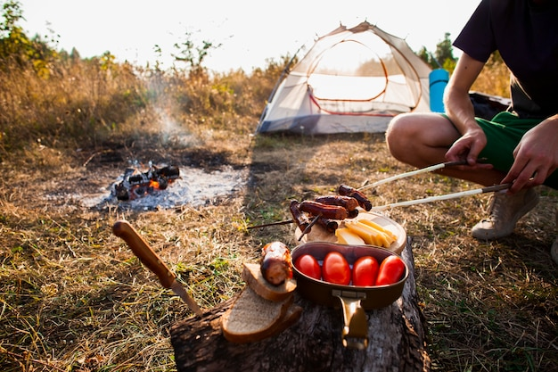 Delicious fresh camp meal outside Free Photo