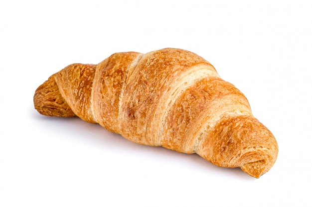 Delicious, fresh croissant on white. croissant isolated. Premium Photo