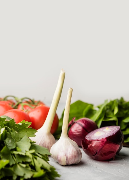 Delicious garlic and onion for healthy salad Free Photo