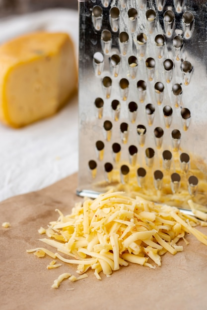 Delicious grated cheese with close-up Free Photo