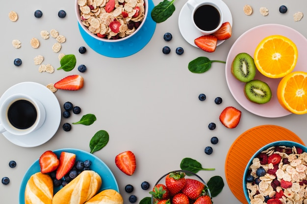 Delicious healthy breakfast with copyspace Free Photo