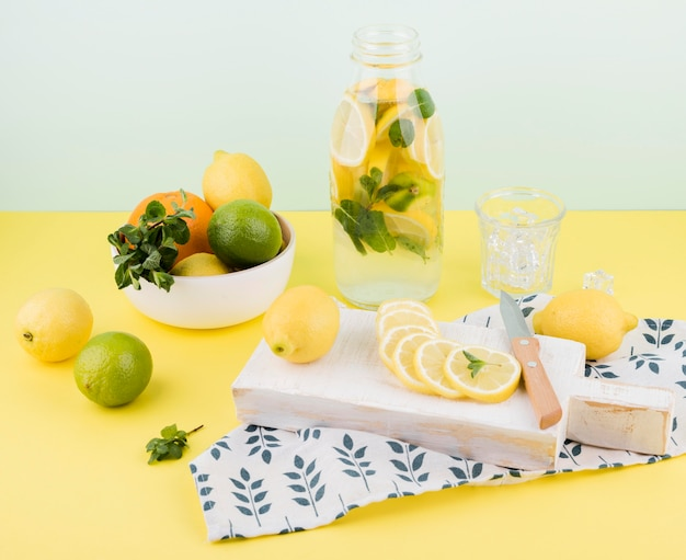 Delicious homemade lemonade ready to be served Free Photo