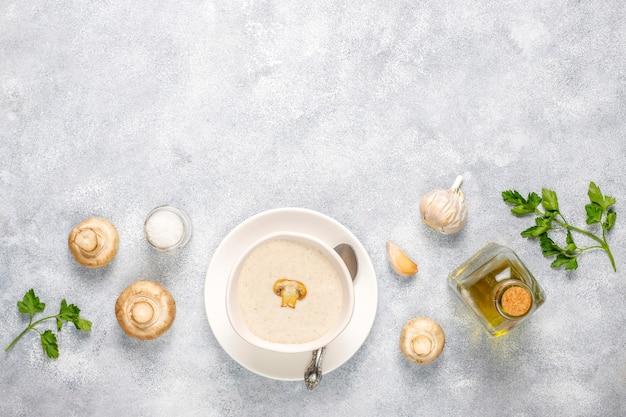 Delicious homemade mushroom cream soup,top view Free Photo