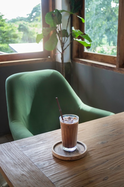 Delicious iced coffee and milk chocolate melt drink Premium Photo