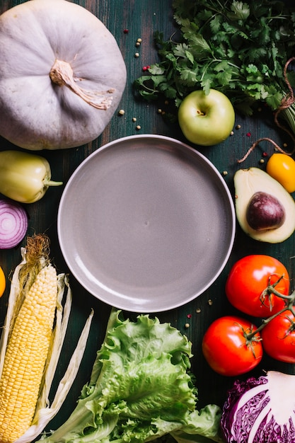 Delicious ingredients for cooked food with copy space Free Photo