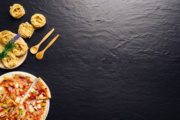 Delicious italian food concept with space on right Premium Photo