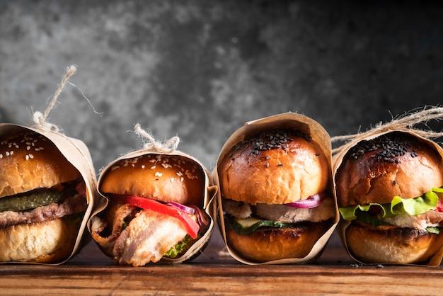 Delicious looking hamburgers arrangement Free Photo