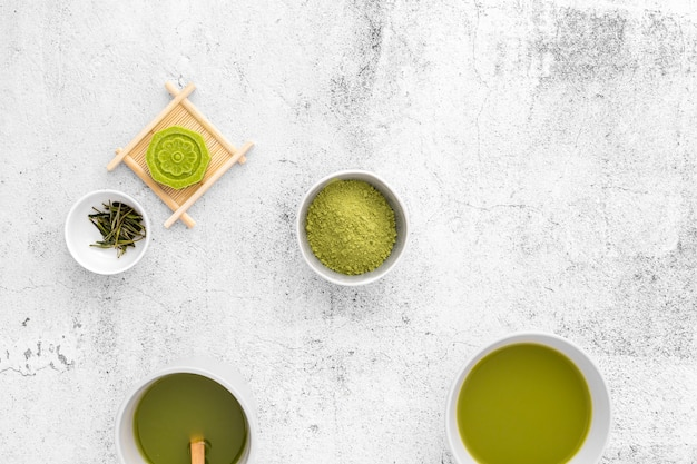 Delicious matcha tea concept on the table Free Photo