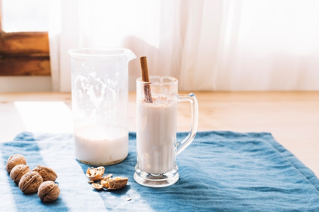 Delicious milkshake served in glass Free Photo
