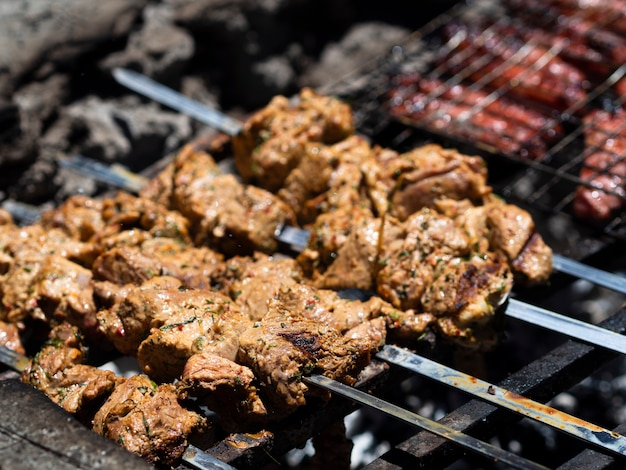 Delicious pieces of meat roasting on skewers Free Photo