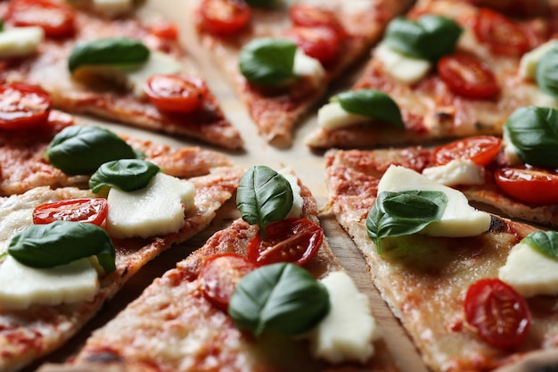 Delicious pizza with basil Free Photo