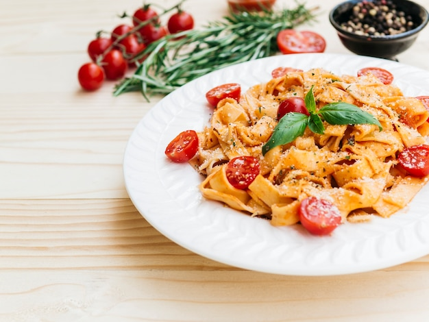 Delicious plate of italian pasta Free Photo