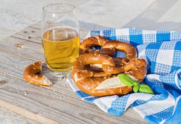 Delicious pretzel with salt, german food Premium Photo