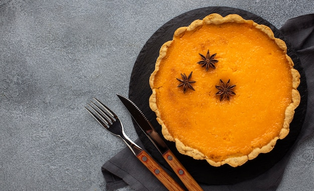 Вид сверху вкусный тыквенный пирог Бесплатные Фотографии