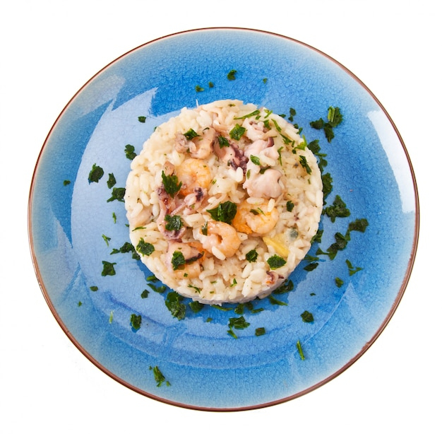 Delicious rice with seafood Premium Photo