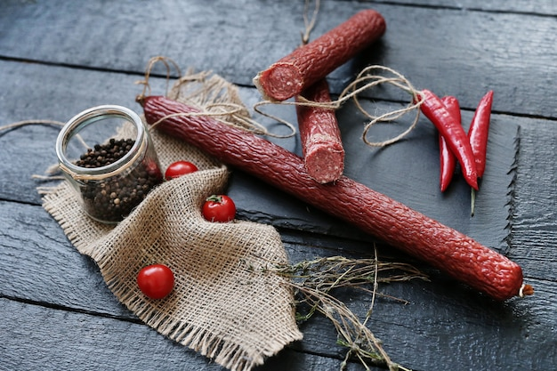Delicious sausages with ingredients Free Photo