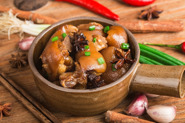 Delicious spicy trotters and spices Premium Photo