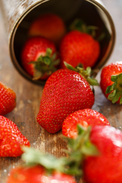 Delicious strawberries on the table Free Photo