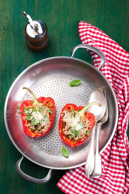 Delicious stuffed peppers Free Photo
