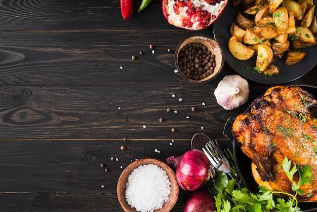 Вкусная рамка для еды на день благодарения Premium Фотографии