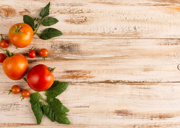 Delicious tomatoes on wooden board with copy space Free Photo