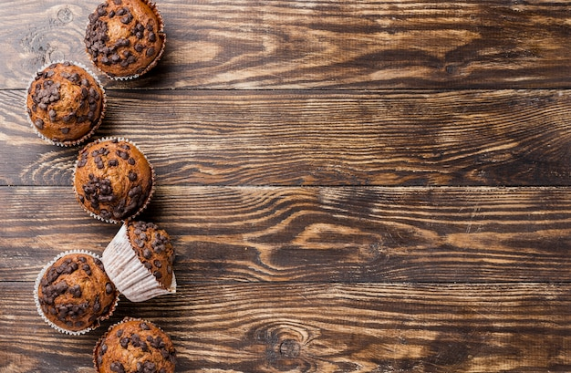 Delicious top view muffins with copy space Free Photo