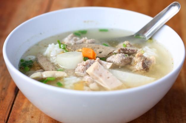 Delicious traditional pork spare ribs rice noodles soup.vietnamese noodle soup in white bo Premium Photo