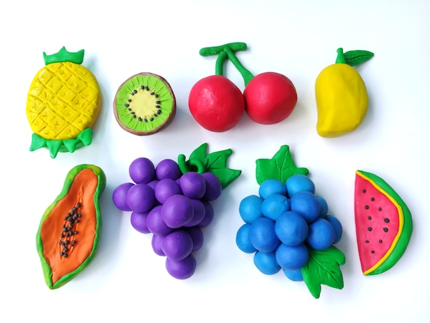 Delicious variety fruits plasticine clay, colorful cherry grapes blueberry watermelon shap Premium P