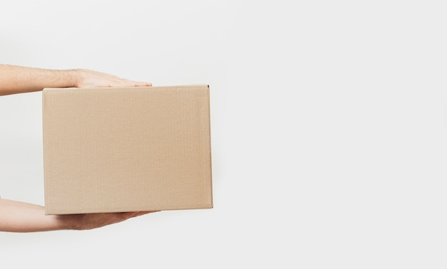 Delivery box with copy-space Premium Photo