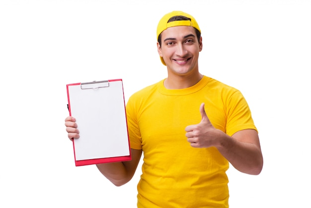 Delivery guy isolated on the white Premium Photo