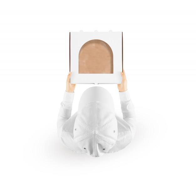 Delivery man holding box hand top view Premium Photo