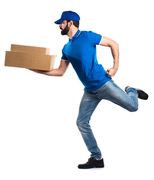 delivery man running fast photo free download