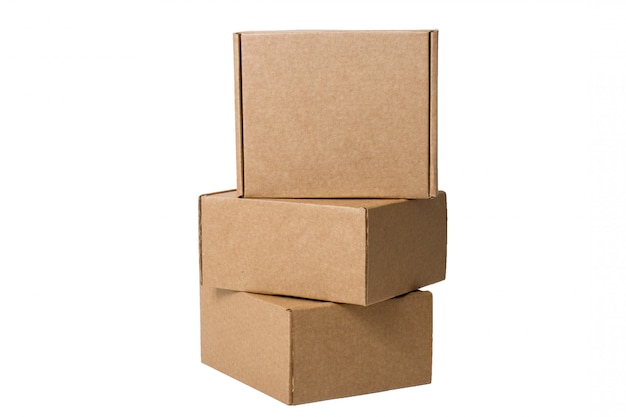 Delivery. self-gathering cardboard boxes isolated on white. Premium Photo